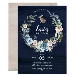 Blaues und neutrales Blumenhäschen Ostern des Karte