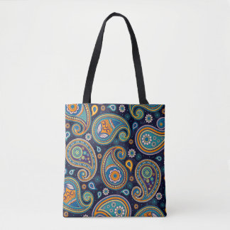 Blaues und orange elegantes Paisley-Musters Tasche