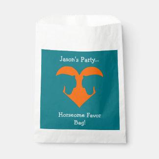 Blaues und orange personalisiertes Pferd Geschenktütchen