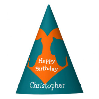 Blaues und orange personalisiertes Pferd Partyhütchen