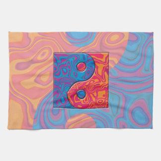 Blaues und orange Yin Yang Symbol Geschirrtuch