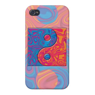 Blaues und orange Yin Yang Symbol iPhone 4 Cover