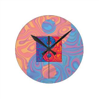 Blaues und orange Yin Yang Symbol Runde Wanduhr