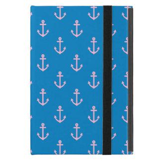 Blaues und rosa Seeanker-Muster iPad Mini Schutzhülle