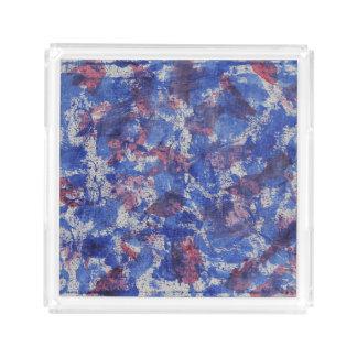 Blaues und rotes Aquarell Acryl Tablett