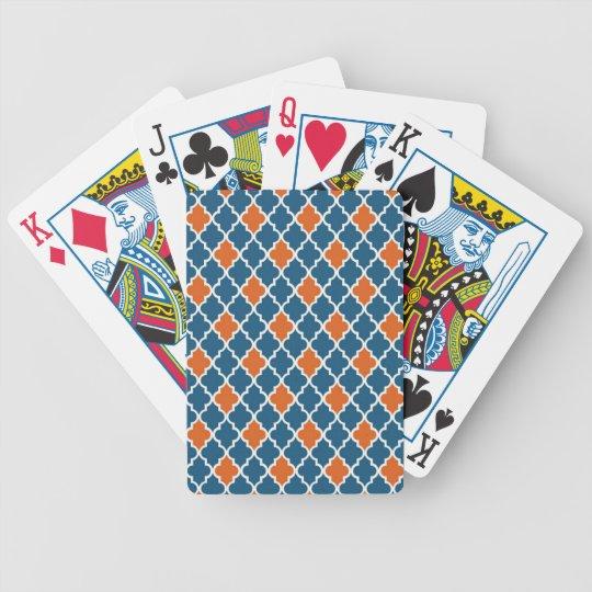 Blaues und rotes marokkanisches Muster Spielkarten