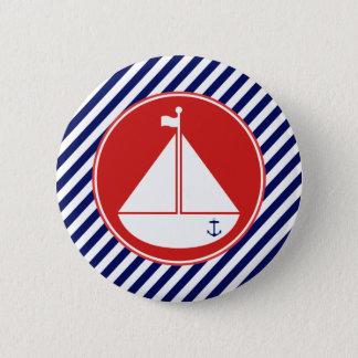Blaues und rotes Segelboot Runder Button 5,1 Cm