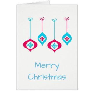 Blaues und rotes Weihnachten verziert frohe Karte