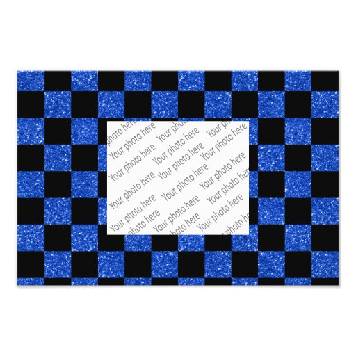 Blaues und schwarzes checkered Muster des Glitters Kunst Foto