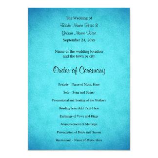 Blaues und schwarzes Hochzeits-Programm 12,7 X 17,8 Cm Einladungskarte