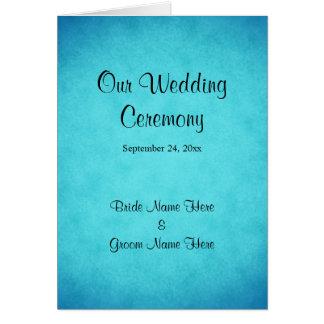 Blaues und schwarzes Hochzeits-Programm Grußkarte