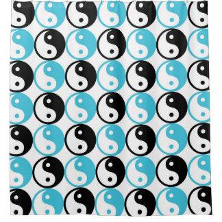 Blaues und schwarzes yin Yang-Muster Duschvorhang
