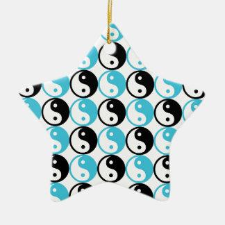 Blaues und schwarzes yin Yang-Muster Keramik Stern-Ornament