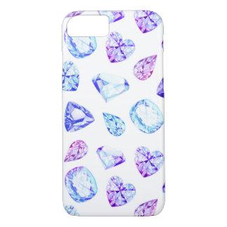 Blaues und violettes Diamantkristall-Aquarell iPhone 8/7 Hülle