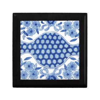 blaues und weißes asiatisches Blumen Schmuckschachtel