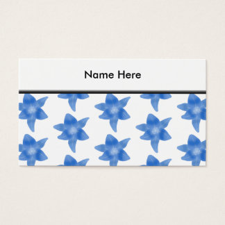 Blaues und weißes Blumenmuster Visitenkarte