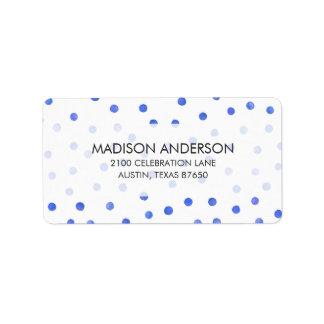 Blaues und weißes Confetti-Punkt-Muster Adressaufkleber