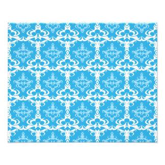 Blaues und weißes Damast-Muster Kunstphoto