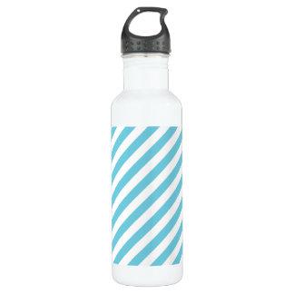 Blaues und weißes diagonales Streifen-Muster Edelstahlflasche
