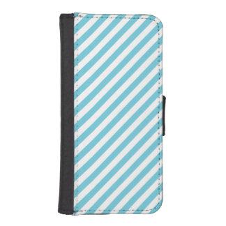 Blaues und weißes diagonales Streifen-Muster Geldbeutel Hülle Für Das iPhone SE/5/5s