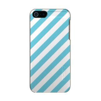 Blaues und weißes diagonales Streifen-Muster Incipio Feather® Shine iPhone 5 Hülle