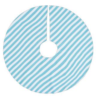Blaues und weißes diagonales Streifen-Muster Polyester Weihnachtsbaumdecke