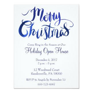 Blaues und weißes einfaches WeihnachtsParty laden Karte