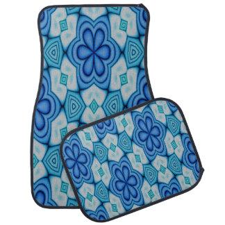 Blaues und weißes Entwurfs-mit BlumenSet von 4 Autofußmatte
