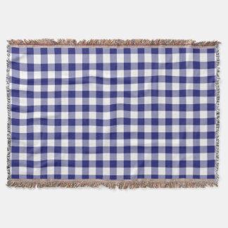 Blaues und weißes Gingham-Karo-Muster Decke