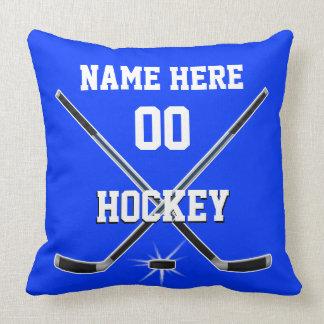 Blaues und weißes Hockey-Kissen PERSONALISIERT Kissen