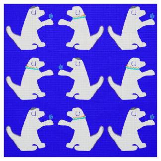 Blaues und weißes Hundchanukka-Gewebe Stoff