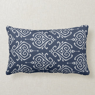 Blaues und weißes ikat Kissen des modernen