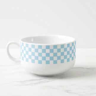 Blaues und weißes klassisches Retro kariertes Große Suppentasse