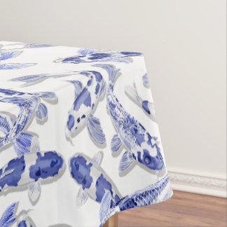 Blaues und weißes Koi Tischdecke