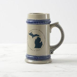 Blaues und weißes Logo Stein Bierglas
