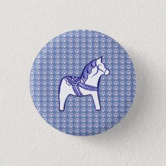 Blaues und weißes Pferd Runder Button 3,2 Cm