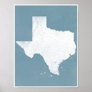Blaues und weißes Texas Poster