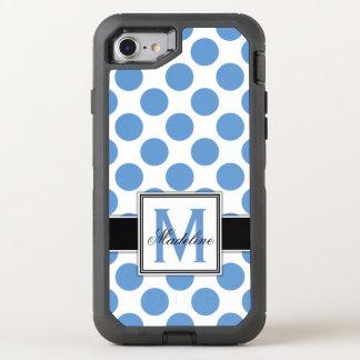 Blaues und weißes Tupfen-Monogramm OtterBox Defender iPhone 8/7 Hülle