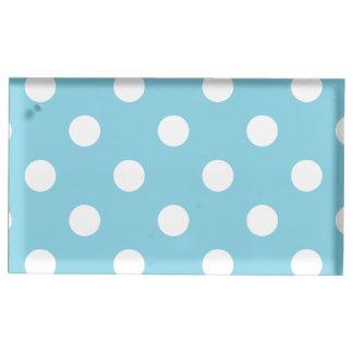 Blaues und weißes Tupfen-Muster Platzkartenhalter