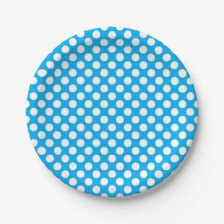 Blaues und weißes Tupfenmuster Pappteller