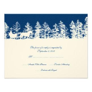 Blaues und weißes Winter-Hochzeit UAWG Individuelle Einladungskarte