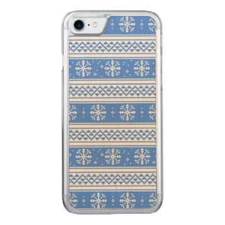Blaues und weißes Winter-Schneeflocke-Muster Carved iPhone 8/7 Hülle