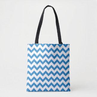 Blaues und weißes Zickzack Muster Tasche