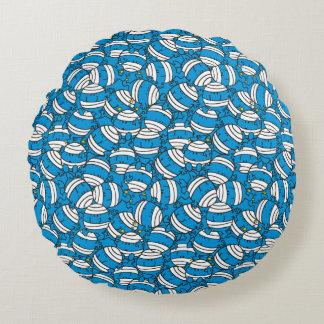 Blaues Verwirrungs-Muster Herr-Bump | Rundes Kissen