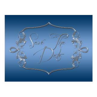 Blaues verziertes Silber Save the Date Postkarten