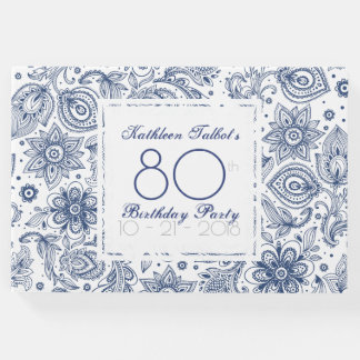Blaues Vintages 80. Geburtstags-Party-Gast-Buch Gästebuch