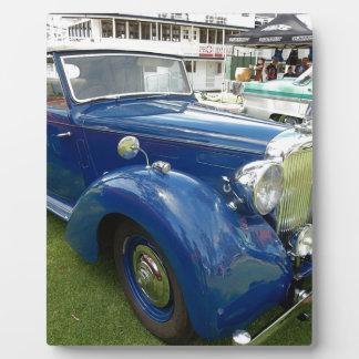 Blaues Vintages Auto Fotoplatte