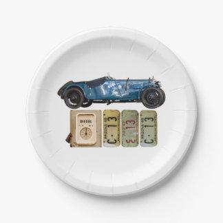Blaues Vintages Auto Pappteller