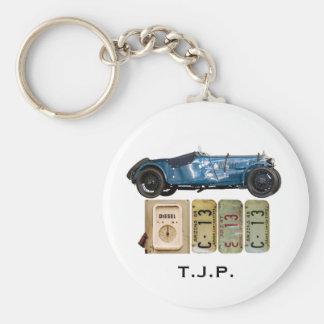 Blaues Vintages Auto Schlüsselanhänger