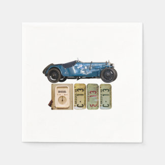 Blaues Vintages Auto Serviette